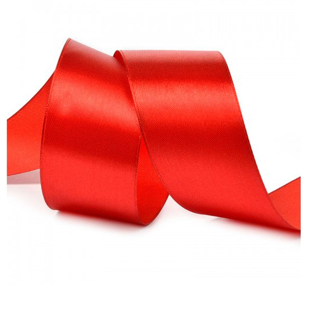 Красная атласная лента шириной 50 мм