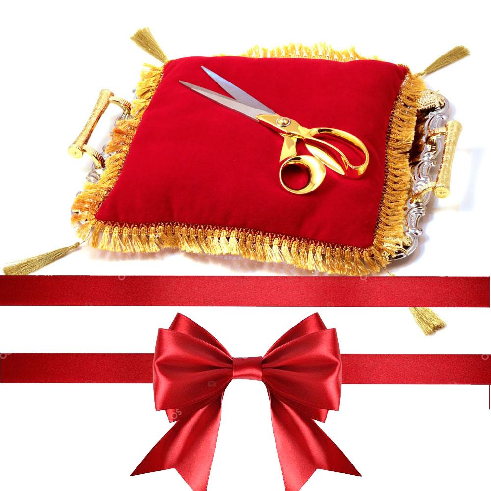 Торжественный набор Openning (красная подушка, ножницы, атласная лента)